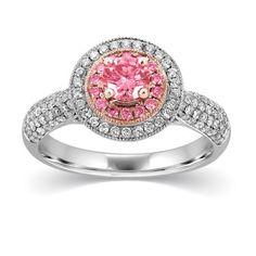 Fiamma Double Halo Enhanced Pink Diamond Ring