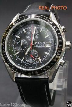 EF-503L-1A Casio Edifice Watch Genuine Leather Band Black Analog Chronograph