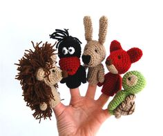 5 finger puppet crocheted hedgehog crow bunny or by crochAndi, $42.00