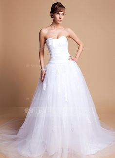 Wedding Dresses - $197.59 - Ball-Gown Sweetheart Chapel Train Tulle Charmeuse Wedding Dress With Lace (002012136) http://jjshouse.com/Ball-Gown-Sweetheart-Chapel-Train-Tulle-Charmeuse-Wedding-Dress-With-Lace-002012136-g12136