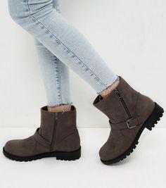 Wide Fit Grey Suedette Buckle Strap Biker Boots | New Look