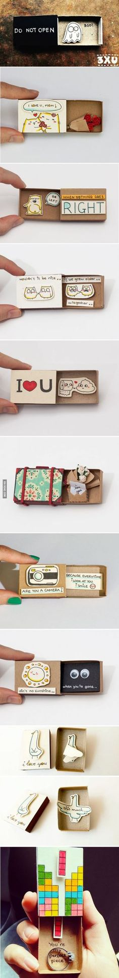 Artist creates little matchbox greeting cards with hidden messages inside (part I)