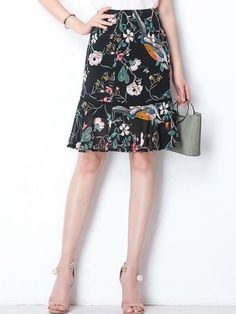 a38eca3463aa4 Printing Contrast Women s High Waist Flouncing Midi Skirts