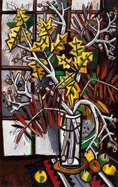 "David Bates, 2010, Sweet Gum and Sumac, oil on panel, 76"" x 48"""