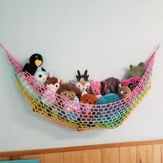 Your place to buy and sell all things handmade Stuffed Animal Net, Stuffed Animal Storage, Stuffed Animals, Free Crochet Bag, Crochet Home, Crochet Teddy Bear Pattern, Crochet Patterns Amigurumi, Ideas Dormitorios, Toy Hammock