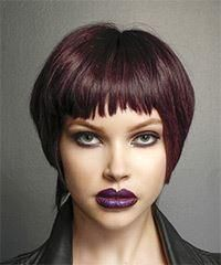 Short Straight Casual Hairstyle with Asymmetrical Bangs Purple Hair Color - Modernes Hair Color Purple, Hair Color For Black Hair, Brown Hair Colors, Casual Hairstyles, Straight Hairstyles, Hairstyle Short, Taylor Swift, Asymmetrical Bangs, Colored Hair Tips
