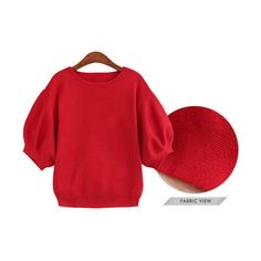 Hot Sale Fashion Women Lantern Sleeve Blank Pullover Round Neck... ❤ liked on Polyvore featuring tops, sweaters, red sweater, pullover sweater, pullover tops, round neck sweater and sweater pullover