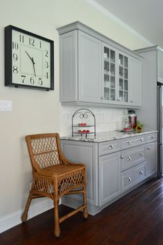 grey cabinets, white subway tile, carerra marble... so soothing! (would love it in a bathroom too)