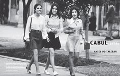 Women walking in the street in Kabul, Afghanistan, 1970s. Before the war. Before the Taliban.