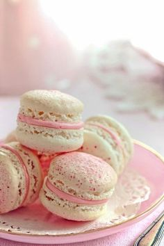 White Chocolate Strawberry Macarons