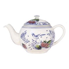 "Gien ""Oiseau Bleu"" Hand Painted Teapot, Made in France"