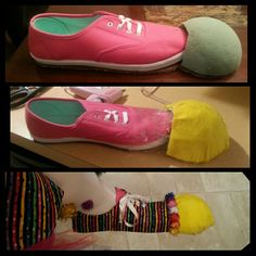 DiY Clown Shoes... photo does not show the platform the shoe and the floral foam rests on. I just used thick cardboard stacked for stability.