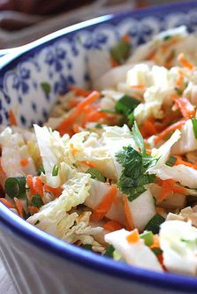 Spicy Asian Slaw with Napa Cabbage, Carrots & Ginger Dressing | cookincanuck.com #salad #cleaneating #vegetarian