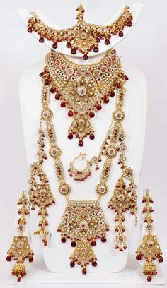 Maroon Stone Studded Bridal Necklace Set Online Shopping: JRJ261