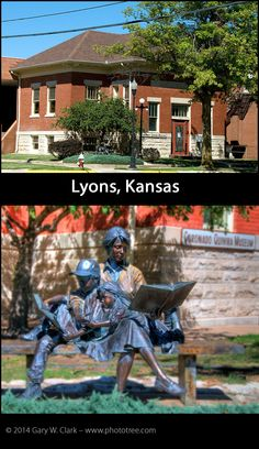 The original building houses a local museum, but is next to a new library building. This structure is unique for a Carnegie building as it does not have a stairway to the main library floor. Like many libraries, a bronze statue with children reading books graces a corner in front.  FACTS: Lyons, Kansas (Rice County; Built 1909: Funded $6,000, Latitude: 38.3455539; Longitude: -98.203340