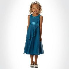 Girl's dark turquoise rosebud dress - Party - Girls dresses - Kids -
