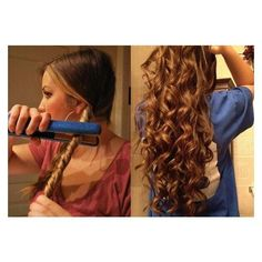 Learn The Art On How To Curl Long Hair In 10 Minutes ❤ liked on Polyvore featuring beauty products, haircare and hair styling tools