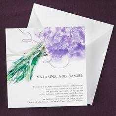 Painted Flowers Invitation for elegantly previewing your purple wedding theme with its floral bouquet design.  See this wedding invitation design and many more here - www.printedcreations.carlsoncraft.com/Weddings/Invitations/MR-MR42C3D-Painted-Flowers--Invitation.pro.  #purplewedding
