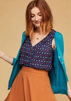 ModCloth - ModCloth Woven Sleeveless Top with Lapels in Dots in L - AdoreWe.com
