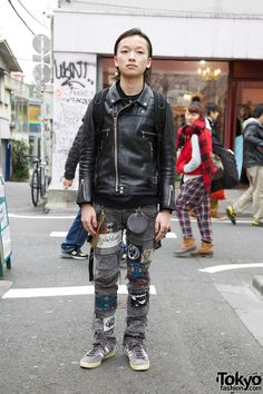 Bunka Student's Undercover Leather Jacket & Handmade Patched Jeans