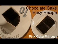 Chocolate Cake Recipe - Easy Cake How to by Pink Cake Princess (para cubrir con fondant) Chocolate Ganache Cake, Chocolate Cake Recipe Easy, Easy Cake Recipes, Cupcake Recipes, Traybake Cake, Mud Cake, Painted Cakes, Celebration Cakes, Tray Bakes