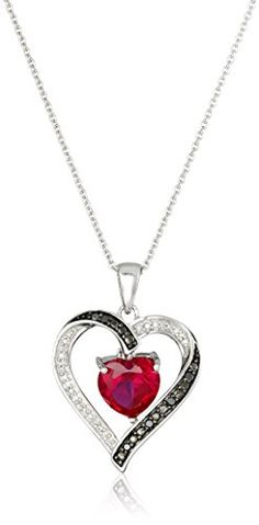 #blackdiamondgem #carbonado Sterling Silver Heart Shape Created Ruby Black and White Diamond Heart Pendant Necklace, 18″	by Amazon Curated Collection http://blackdiamondgemstone.com/jewelry/necklaces/pendants/sterling-silver-heart-shape-created-ruby-black-and-white-diamond-heart-pendant-necklace-18-com/