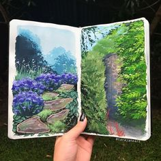 Sketchbook painting by Tara Jane Bullet Journal Art, Art Journal Pages, Art Pages, Landscape Drawings, Landscape Art, Landscapes, Gouche Painting, Mini Canvas Art, Nature Drawing