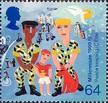 British Stamp 1999 - 64p, Soldiers with Boy (Peace-keeping) from Millennium Series. The Soldiers' Tale (1999)