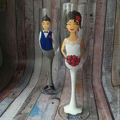 Купить Парные свадебные бокалы (0777) - комбинированный, свадьба, свадебные бокалы, портрет молодоженов