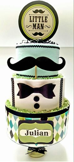 Little Man Diaper Cake, Mustache Diaper Cake More
