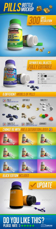 Tablets, Vitamins and Pills Bottle Mockup by Nobic Medicine Bottle Mockup This is a mockup for a vitamins or medicine bottle, is a perfect solution to show your product, Includes 6