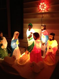 Light up nativity - vintage blow molds