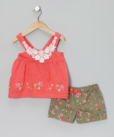 Another great find on #zulily! Pink Embroidered Tunic & Floral Shorts - Toddler by Nannette #zulilyfinds