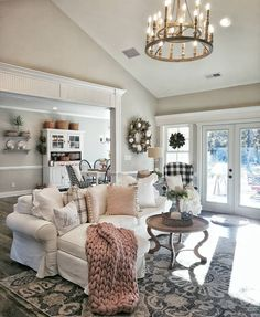 Multi tier chandelier distressed heavily weathered and time-worn finishes which give an organic, yet Home Living Room, Living Room Designs, Living Room Decor, Dining Room, French Living Rooms, French Country Living Room, Southern Living, French Country Rug, French Country Decorating