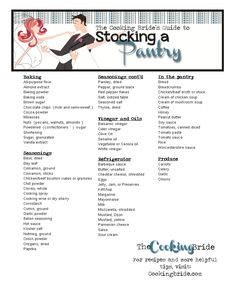 The Cooking Brides Guide to Stocking a Pantry - CookingBride.com