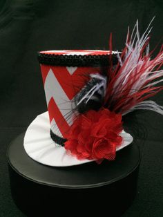 Red and White Chevron Mad Hatter Mini Top Hat by daisyleedesign