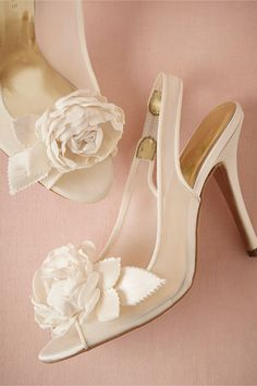 By Freya Rose. Color: Ivory. Garden Rose Slingbacks from BHLDN