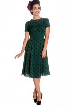 Bunny - 40s Madden Dress in Green with Black Polka