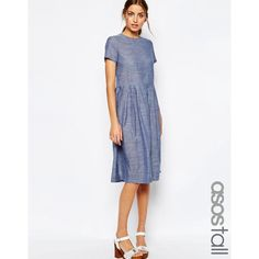 ASOS TALL Chambray Spot Midi Dress ($49) ❤ liked on Polyvore featuring dresses, blue, blue white dresses, blue chambray dress, chambray dress, blue polka dot dress and calf length dresses