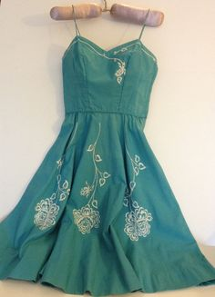 Fifties Sundress in Tiffany Blue by BarbeeVintage on Etsy, $47.00