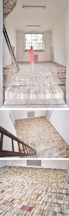 Floor of books~ Thomas Ehgartner - Meaning Minus Truth Conditions (2006) - 8,000 books
