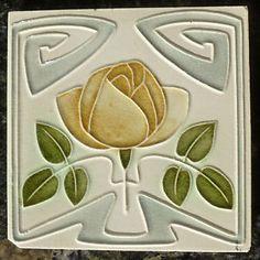 Jugendstil Fliese art nouveau tile Tegel Witteburg Rose stilisiert top rar schön in Antiquitäten & Kunst, Porzellan & Keramik, Keramik, Nach Form & Funktion, Fliesen & Kacheln | eBay