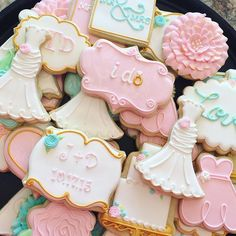 Wedding Set Dress Cookies Shower Decorated Bridal