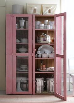 Vintage Distressed Pink using Minwax Stain Kitchen Organization Pantry, Kitchen Pantry, Order Kitchen, Organized Pantry, Kitchen Storage, Pantry Cupboard, Pantry Closet, Kitchen Craft, Big Kitchen