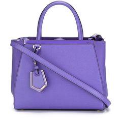 Fendi Petite 2jours Bag ($1,795) ❤ liked on Polyvore featuring bags, handbags, purses, violet, handbags totes, purple handbags, tote purse, leather tote and leather tote bags