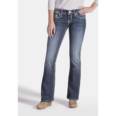 maurices Vigoss Back Flap Pocket Bootcut Jeans ($54) ❤ liked on Polyvore featuring jeans, dark sandblast, mid-rise jeans, maurices, dark wash bootcut jeans, dark wash jeans and mid rise boot cut jeans