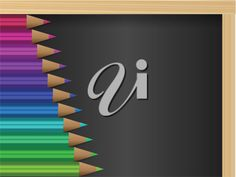 iCLIPART - Royalty-Free Clip Art Illustration of a Set of Rainbow Pencil Crayons on a Chalkboard