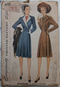 Simplicity 4170; ca. 1942; Misses' and Women's Coat: The smart deep armhole sleeves are shaped at the bottom. Inverted pleats, front and back, lend graceful fullness. In Style 1, a single button fastens the front closing. In Style 2 the waistline closing is double-breasted and detachable, contrasting revers create a dainty, dressmaker effect. So Vintage Patterns