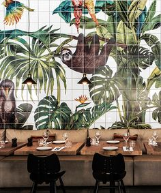 Home Decor Tips karina eibatova tiles a magical jungle within casa cook hotel in greece.Home Decor Tips karina eibatova tiles a magical jungle within casa cook hotel in greece Modern Restaurant, Cafe Restaurant, Luxury Restaurant, Restaurant Interior Design, Best Interior Design, Cafe Bar, Restaurant Furniture, Restaurant Ideas, Restaurant Photos