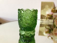 EMERALD GREEN GLASS, Toothpick holder, Daisy button pattern, Smith Glass co. Green glass toothpick holder, collectible glass